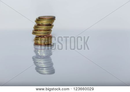 Tower of coins, euros and cents coins
