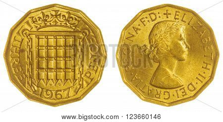 Nickel brass 3 pence 1967 coin isolated on white background, Great Britain