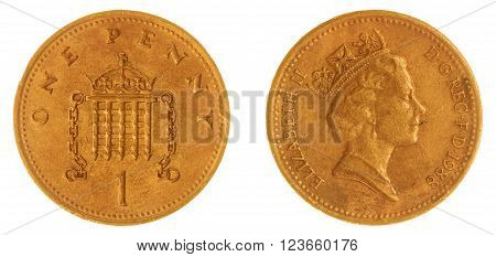 Bronze 1 penny 1988 coin isolated on white background, Great Britain
