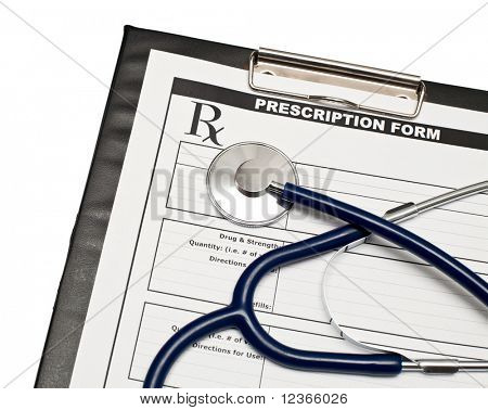 Blank prescription form on clipboard  with stethoscope