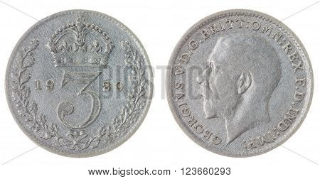 3 Pence 1920 Coin Isolated On White Background, Great Britain