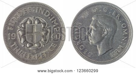 3 Pence 1940 Coin Isolated On White Background, Great Britain