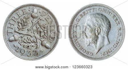 3 Pence 1933 Coin Isolated On White Background, Great Britain