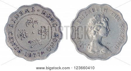 20 Cents 1977 Coin Isolated On White Background, Hong Kong