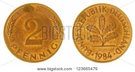 2 Pfennig 1984 Coin Isolated On White Background, Germany