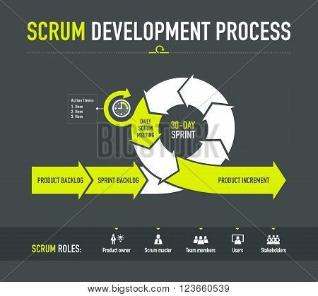 Scrum development process with main scrum roles