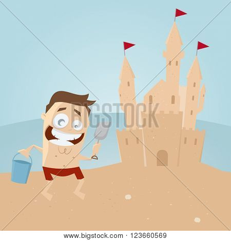 funny man building a sandcastle