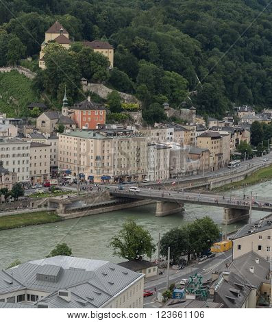SALZBURG AUSTRIA JUNE 27: A view of the Capuchin mountain with monastery Capuchin in Salzburg 2015