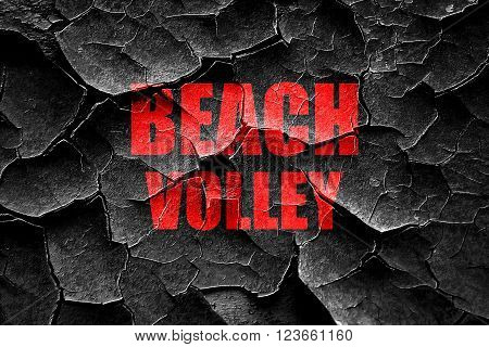 Grunge cracked beach volley sign with some soft smooth lines