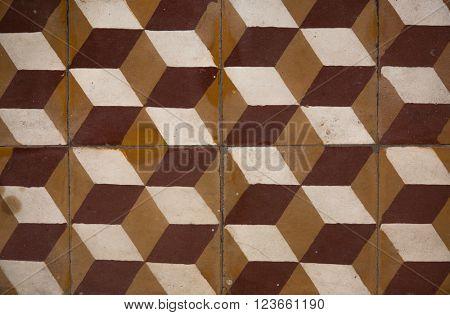 Antique tiles in the Army Museum in Hanoi, Vietnam