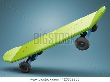 Green low polygonal skateboard isolated on dark blue background