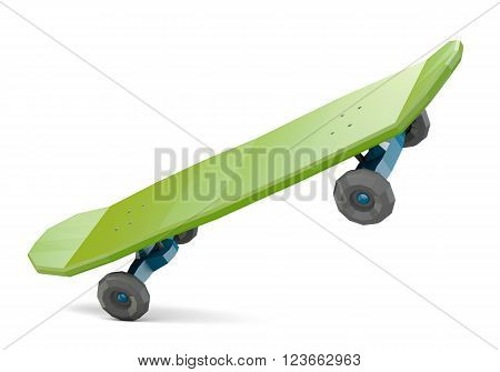 Green low polygonal skateboard isolated on white background