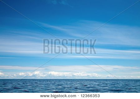 Blue sky with clouds  over Lake Ladoga