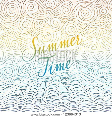 Summertime. Handwritten phrase on an abstract background of sea and sky. Colorful doodles. Vector illustration