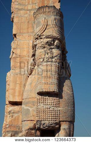 Lamassu guarding the Gate of Xerxes Palace in the ruins of Persepolis in Shiraz, Iran.