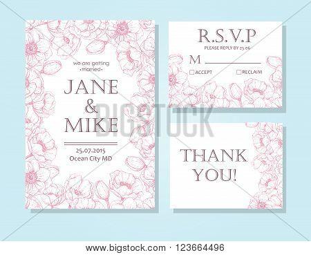 Vintage elegant wedding invitation card template set with anemone flower frame. Detailed botanical engraved vector illustration. Wedding invitation or save the date card RSVP thank you card.