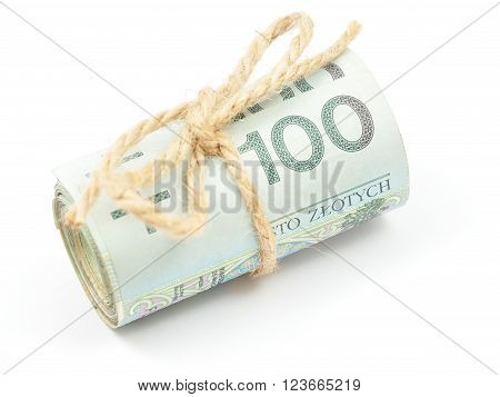 Roll Of 100 Pln Notes Tied With A String