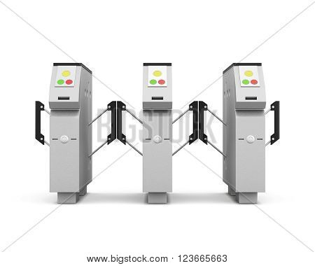 Turnstile front isolated on white background. 3d rendering.