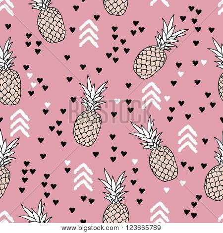 Seamless geometric arrows Indian summer pineapple fruit tropical illustration Scandinavian style design background pattern in vector