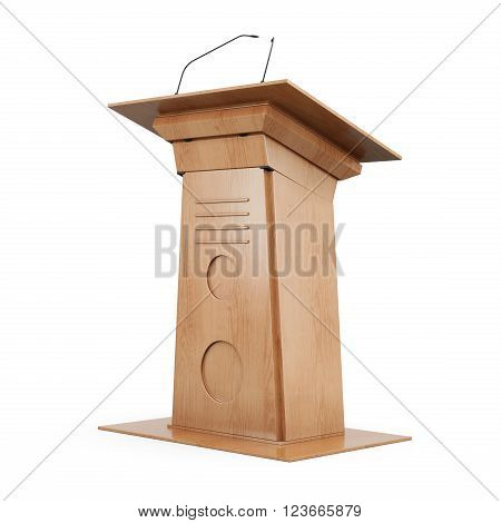 Wooden tribune isolated on white background. 3d rendering.