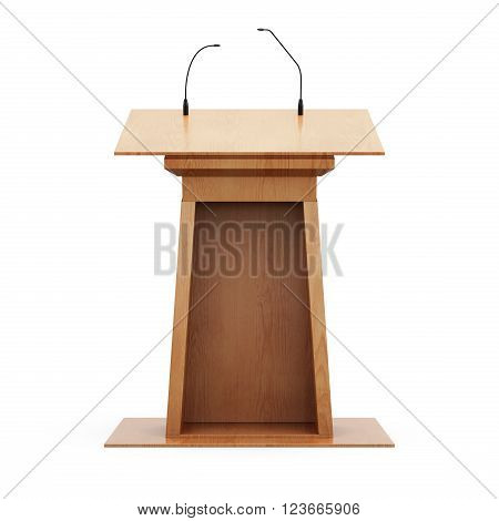 Wooden tribune with microphones isolated on white background. 3d rendering.