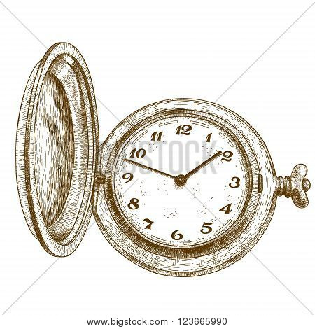 Vector antique engraving illustration of pocket watch isolated on white background