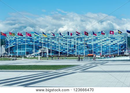 Sochi Russia - May 11 2015: Facade of ice rink for figure skating built for Winter Olympic Games 2014.