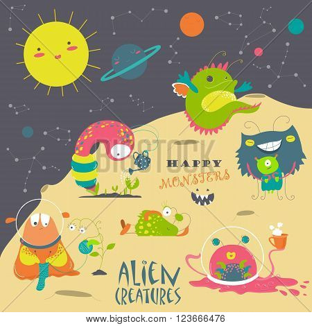 Vector set of cute cartoon alien and space