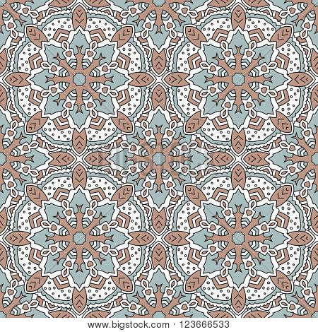 Seamless color pattern with symmetrical geometric pattern.