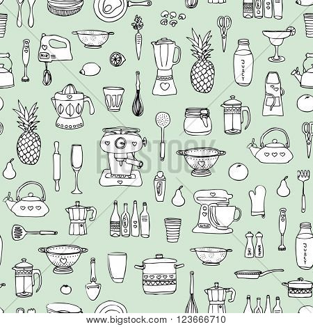 Seamless kitchen cooking baking chef and food theme illustration Scandinavian style background pattern in vector mint