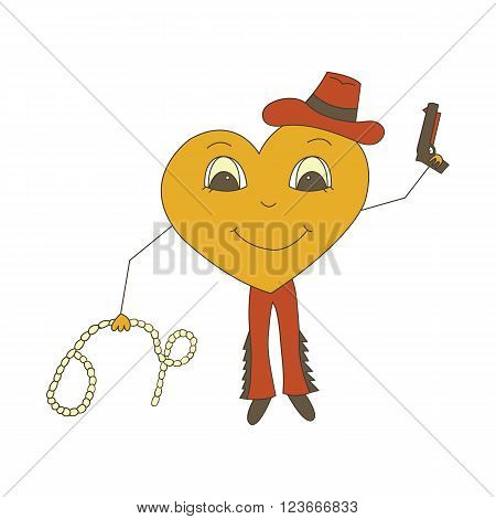 Character heart. Cowboy party competition in a Rodeo in the Wild West isolated on a white background.