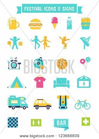 Festival, Concert and Camping Flat Vector Icons and Signs Set