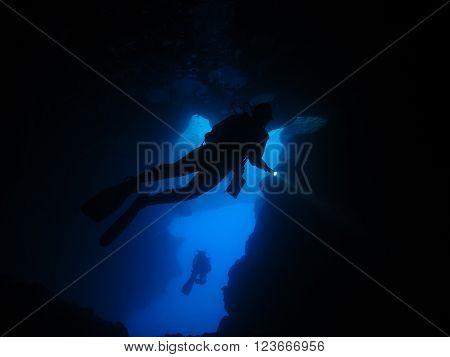 Cavern Diver Silhoutte