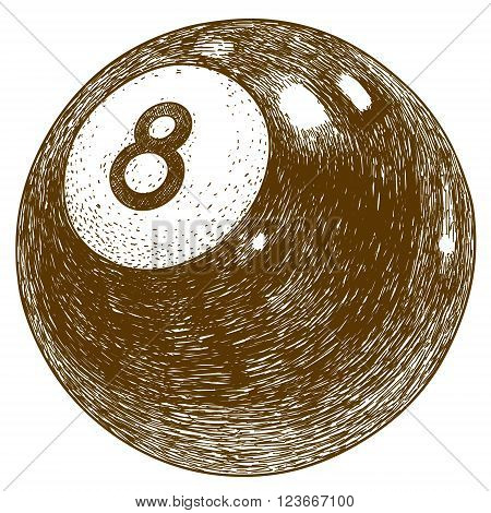 Vector antique engraving illustration of billiards eight ball isolated on white background