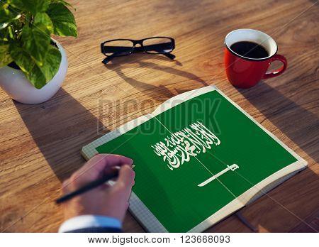 Saudi Arabia National Flag Studying Reading Book Concept