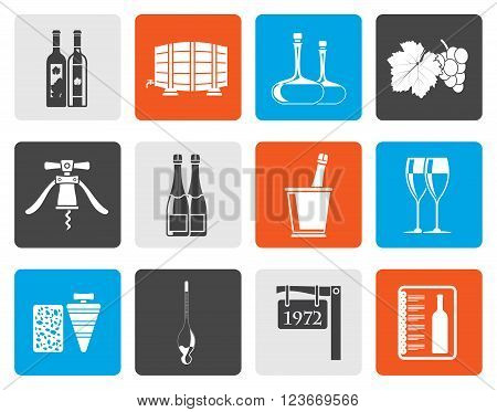 Flat Wine and drink Icons - Vector Icon Set