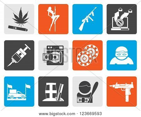 Flat mafia and organized criminality activity icons - vector icon set