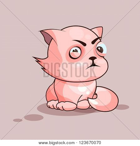 Vector Stock Illustration isolated Emoji character cartoon cat squints and looks suspiciously sticker emoticon for site, infographics, video, animation, websites, e-mails, newsletters, reports, comics