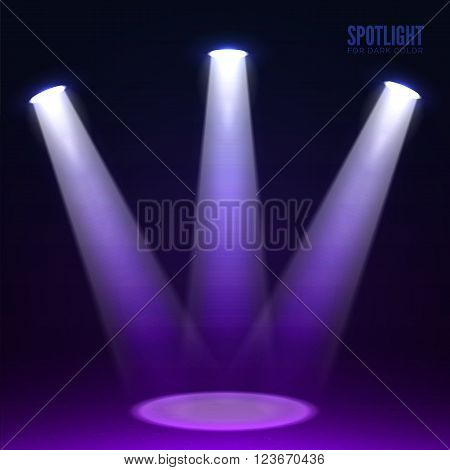 Stage spotlight on dark background. Vector scene illuminated spotlight. Stage spotlight. Spotlight background vector. Show scene spotlight. Spotlight glow effect scene background. Spotlight on stage.
