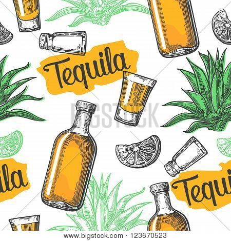 Seamless pattern of glass and botlle glass salt cactus and lime on white background. Vintage vector engraving illustration for label poster web invitation to a tequila party