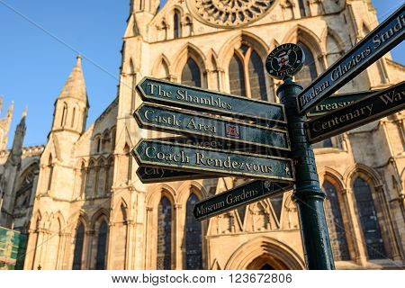 The directional sign post in front of York Minster in York England.