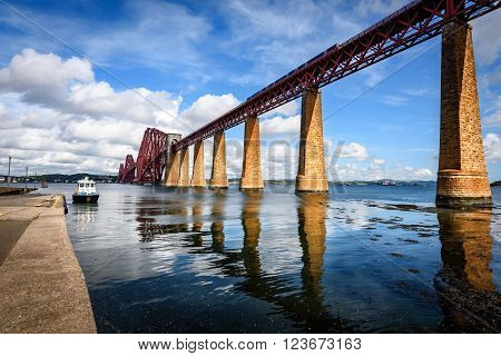 Famous railway bridge on Forth of Firth near Edinburgh Scotland.