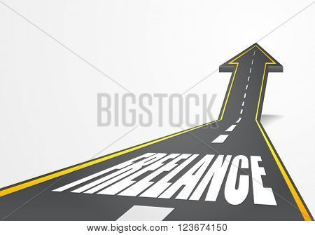 detailed illustration of a highway road going up as an arrow with Freelance text, eps10 vector