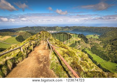 Walking path leading to a view on the lakes of Sete Cidades Azores Portugal