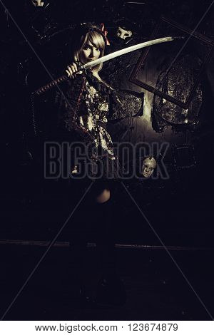 Cute girl with katana posing over dark background