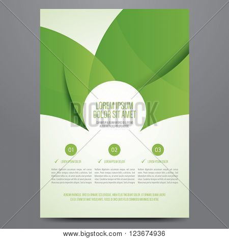 Brochure, poster, annual report, magazine cover, flyer vector template. Modern green corporate design.