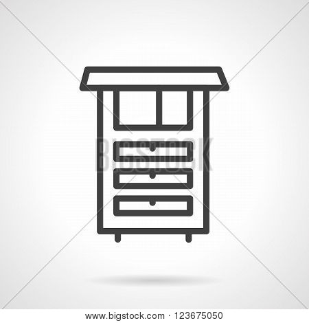 Kitchen cabinet. Functional furniture for home. Simple black line vector icon. Single element for web design, mobile app.