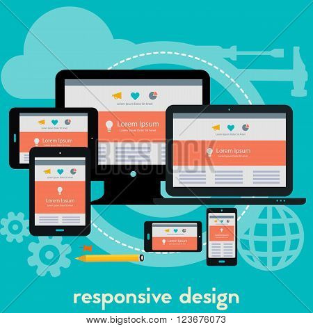 Responsive webdesign technology concept banner. Square composition