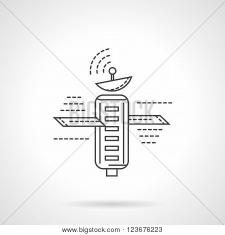 Space satellite. Communication and navigation technology. Space research. Science technology. Flat line style vector icon. Single design element for website, business.