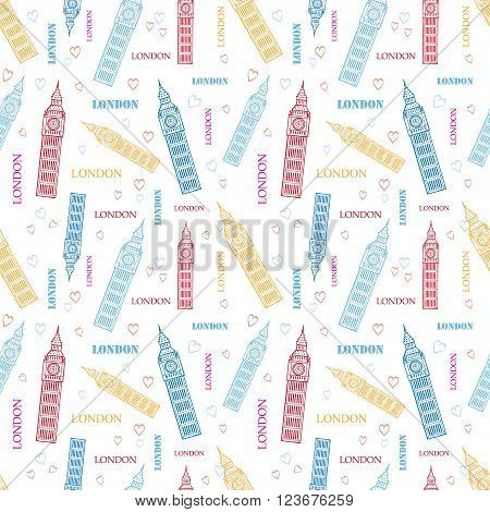 Vector London Big Ben Tower Colorful Seamless Seamless Pattern graphic design